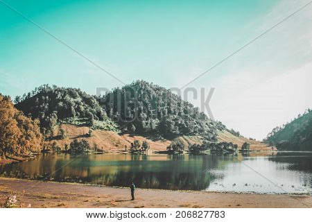 Beautiful Ranu Kumbolo Hill at Bromo Tengger Semeru National Park, Indonesia