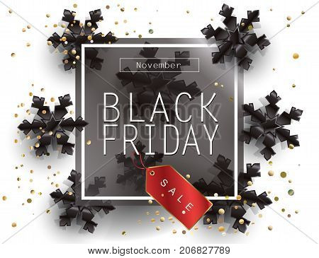 Black Friday Sale Poster with Shiny snowflakes, price tag, confetti on White Background with Square Black Frame. Holiday Sale gift card, shopping card banner discount. Realistic Vector leaflet design.