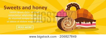 Sweets and honey banner horizontal concept. Flat illustration of sweets and honey banner horizontal vector concept for web design