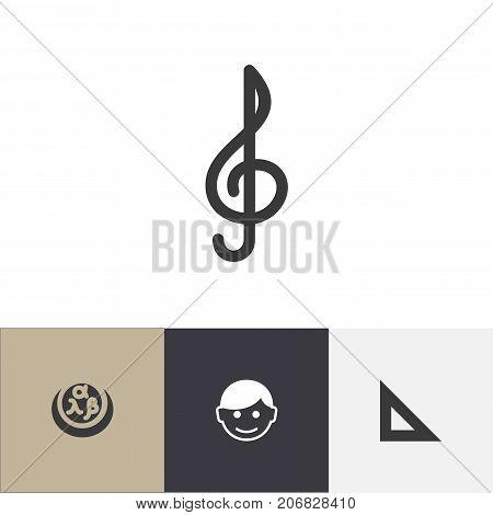 Set Of 4 Editable Science Icons. Includes Symbols Such As Scholar, Trigon Straightedge, Quaver And More
