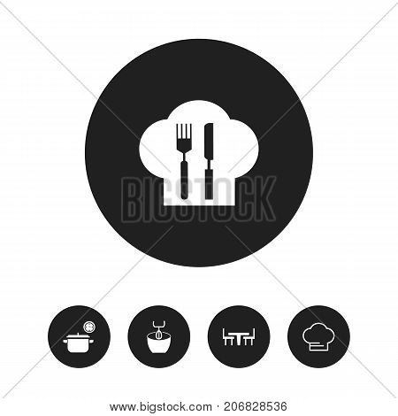 Set Of 5 Editable Restaurant Icons. Includes Symbols Such As Dining Table, Stir, Cooking And More