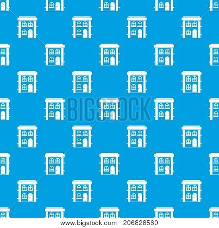 Two-storey residential house pattern repeat seamless in blue color for any design. Vector geometric illustration