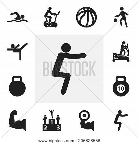 Set Of 12 Editable Lifestyle Icons. Includes Symbols Such As Weightiness, Training Pool, Instruction Male And More