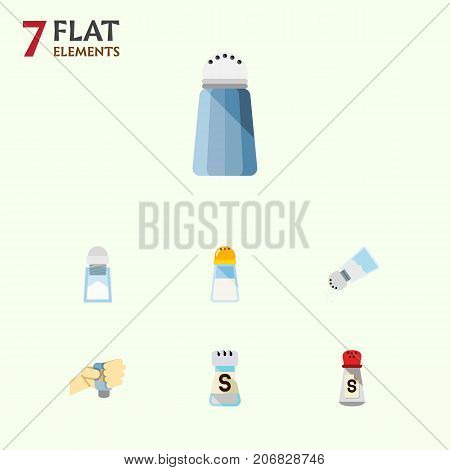 Flat Icon Sodium Set Of Saltshaker, Flavor, Shaker And Other Vector Objects