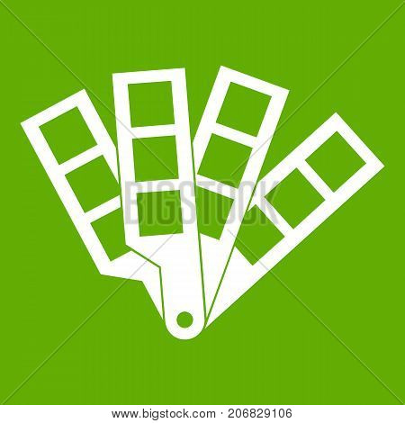 Color palette guide icon white isolated on green background. Vector illustration
