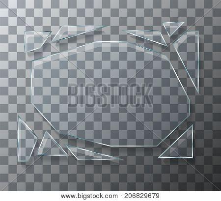 Vector modern concept broken glass on transparent background