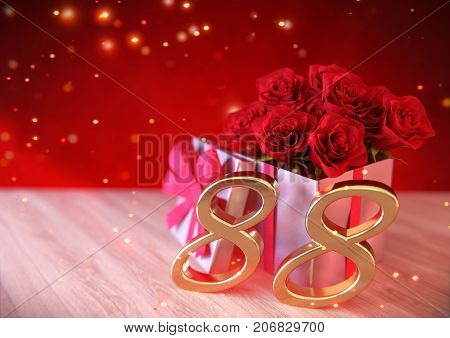 birthday concept with red roses in gift on wooden desk. 3D render - eighty-eighth birthday. 88th