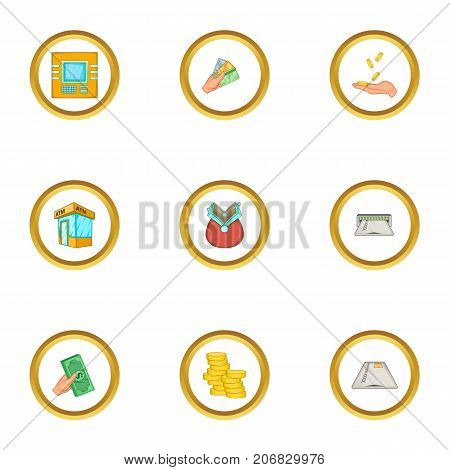 Finance icons set. Cartoon style set of 9 finance vector icons for web design