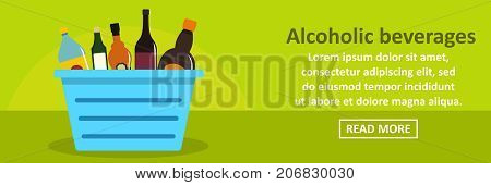 Alcoholic beverages banner horizontal concept. Flat illustration of alcoholic beverages banner horizontal vector concept for web design