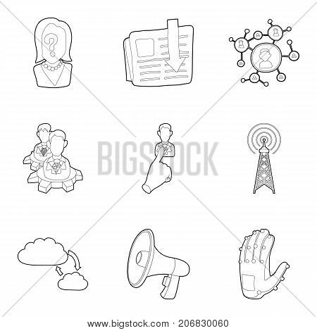 Business order icons set. Outline set of 9 business order vector icons for web isolated on white background