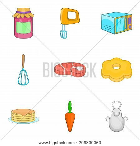 Grandma baking icons set. Cartoon set of 9 grandma baking vector icons for web isolated on white background