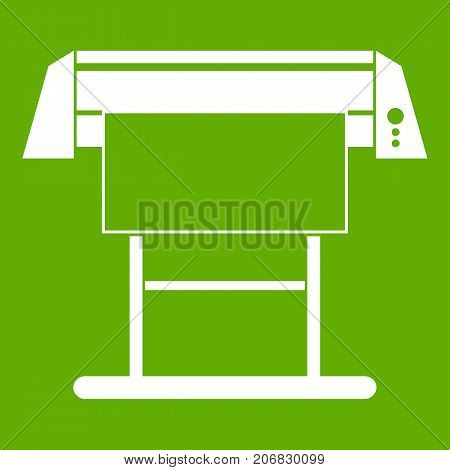 Large format inkjet printer icon white isolated on green background. Vector illustration