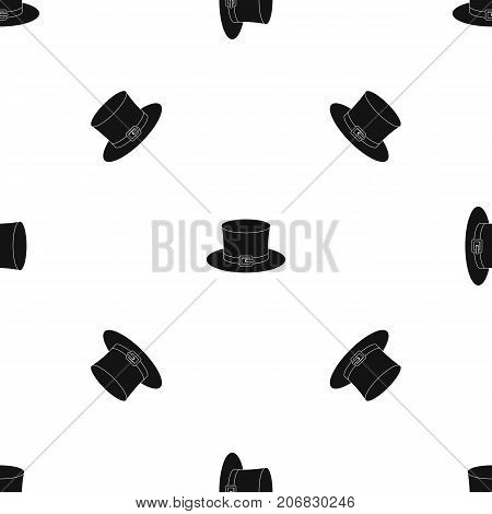 Leprechaun hat pattern repeat seamless in black color for any design. Vector geometric illustration