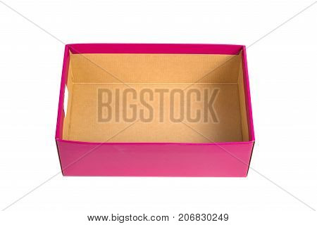 Pink Shoes Box For Shoe Or Sneaker Product Packaging Isolated On White Background.