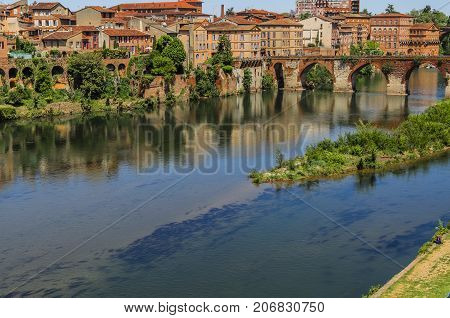 The Tarn River gives the name to the department where the ancient city of french of Albi