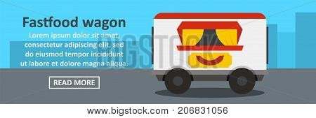 Fastfood wagon banner horizontal concept. Flat illustration of fastfood wagon banner horizontal vector concept for web design