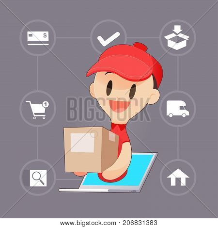 Cartoon Delivery Man Brings A Goods To A Customer From Laptop Vector illustration Concept with Online Shopping And Services.