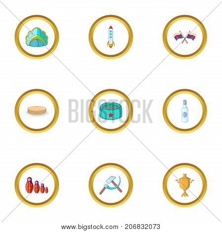 Russian culture icons set. cartoon style set of 9 russian culture vector icons for web design