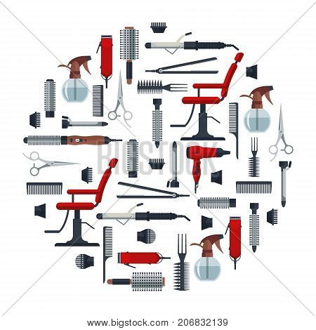 Set of hairdresser objects in flat style isolated on white background. Hair salon equipment and tools logo icons, hairdryer, comb, scissors, chair, hairclipper, curling, hair straightener. poster