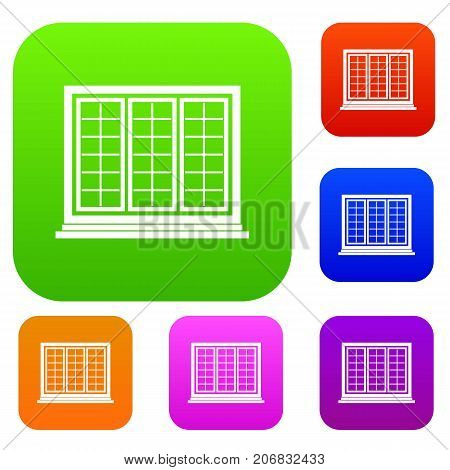 Wooden tricuspid window set icon color in flat style isolated on white. Collection sings vector illustration