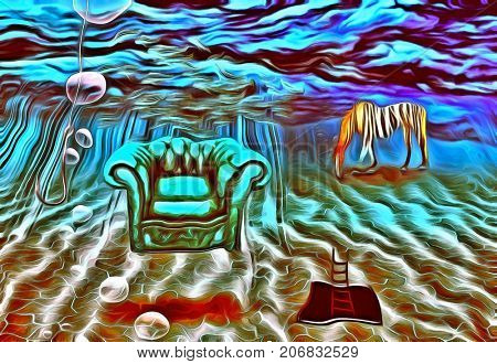 Surreal painting. Armchair and striped horse are on a sea bottom. Fishing hook. Ladder from hole in sea bottom. 3D Rendering