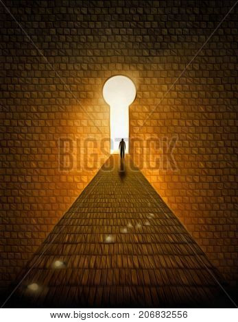 Surreal digital art. Man walks on a stones road to Heaven. Doorway in a shape of keyhole. Light bulbs symbolizes ideas. 3D Rendering