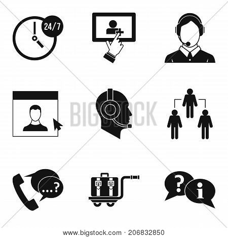 Communication icons set. Simple set of 9 communication vector icons for web isolated on white background