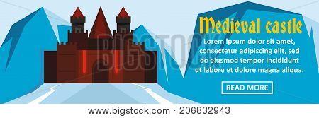 Medieval castle banner horizontal concept. Flat illustration of medieval castle banner horizontal vector concept for web design