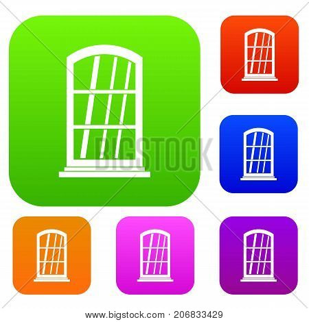 White narrow window set icon color in flat style isolated on white. Collection sings vector illustration