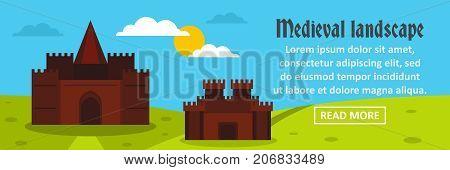 Castle medieval landscape banner horizontal concept. Flat illustration of castle medieval landscape banner horizontal vector concept for web design