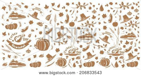 Thanksgiving and autumn pattern. Background consisting of repeating elements for the fall and Thanksgiving theme. Vector illustration