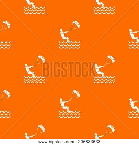Man takes part at kitesurfing pattern repeat seamless in orange color for any design. Vector geometric illustration