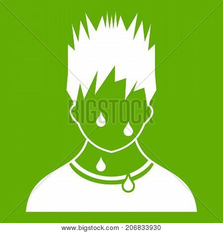 Sweaty man icon white isolated on green background. Vector illustration