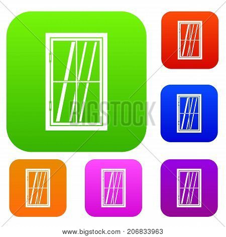Closed window set icon color in flat style isolated on white. Collection sings vector illustration