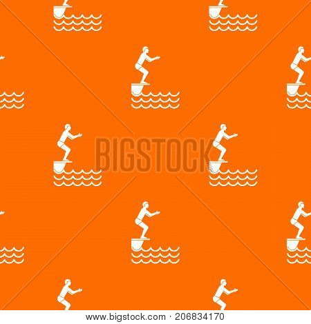 Man standing on springboard pattern repeat seamless in orange color for any design. Vector geometric illustration