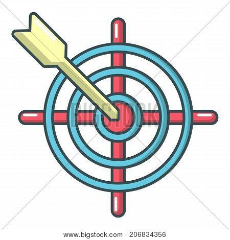 Arrow target icon. Cartoon illustration of arrow target vector icon for web