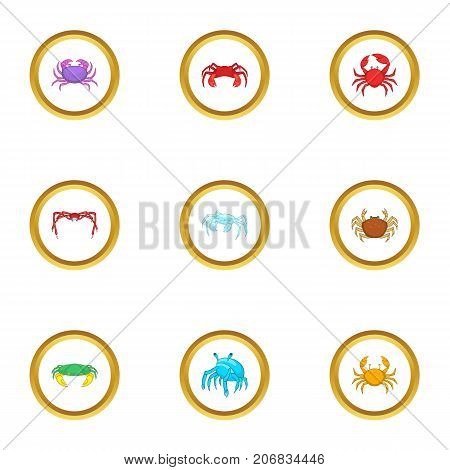 Shellfish icons set. cartoon style set of 9 shellfish vector icons for web design