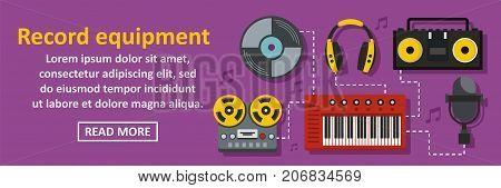 Audio record equipment banner horizontal concept. Flat illustration of audio record equipment banner horizontal vector concept for web design