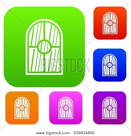 Arched window set icon color in flat style isolated on white. Collection sings vector illustration