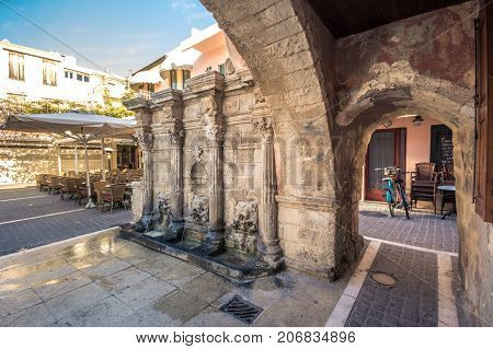 The Rimondi Fountain in the centre of the old town of Rethymnon, Crete, Greece, on April 10, 2017.