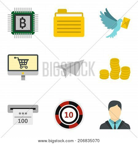 Courier service icons set. Cartoon set of 9 courier service vector icons for web isolated on white background