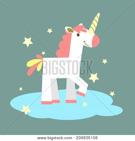 Unicorn on the cloud. Unicorn with multicolored mane and horn