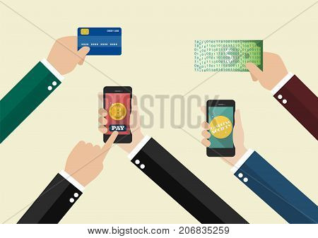Online payment and Cashless society concept. Business concept