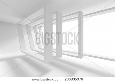 Abstract Office Interior Design. Creative Modern Industrial Concept. White Room with Window. 3d Rendering