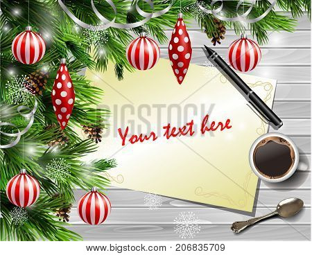 Christmas New Year design light wooden background with christmas tree and white and red balls and wish list coffee teaspoon and pen