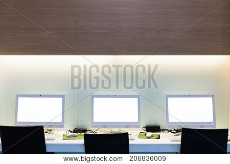 Work place computer in office. with clipping path