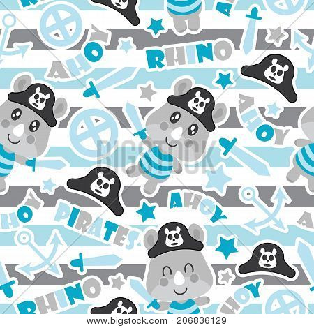 Seamless pattern of cute rhino pirate boys, swords, and anchors on striped background vector cartoon illustration for baby shower wrapping paper, fabric clothes, and wallpaper