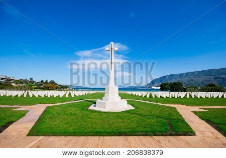 The allies cemetery of the second world war with the cross of remembrance, Souda Bay, Crete, Greece on June24, 2017.