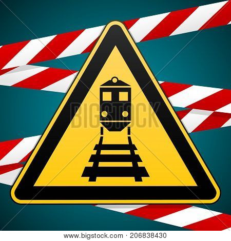 Beware of the train Warning sign and warning bands. Vector illustration.
