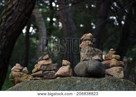 Rock Balancing, A Zen Meditation Practice. Pic Was Taken In Gyeongju, August 2017.